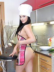 Sexy chef finds another way to use a long cucumber for her satisfaction
