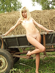 Country girl having fun in the grass
